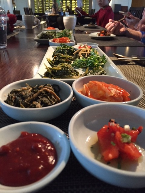 Panchan (Korean side dishes) at our lunch at the Banyan Tree