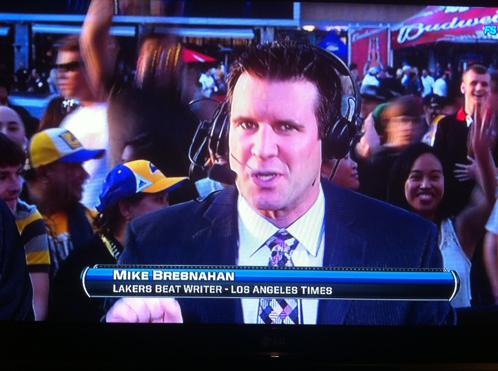 Mike from live TV outside of The Staples Center before a game.