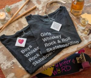 GIRLS, WHISKEY, ROCK & ROLL, SKATEBOARDING TEE
