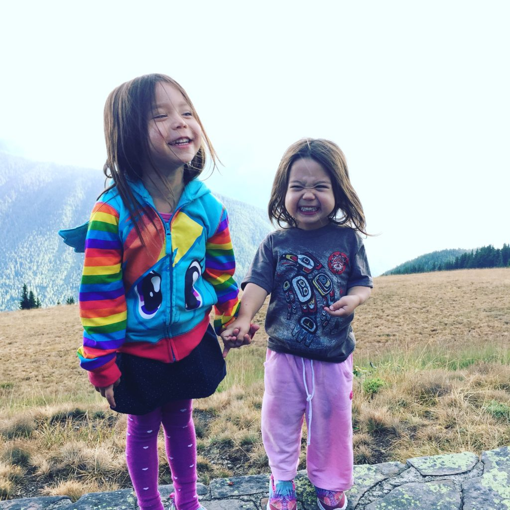 Kids at the top of Hurricane Ridge.