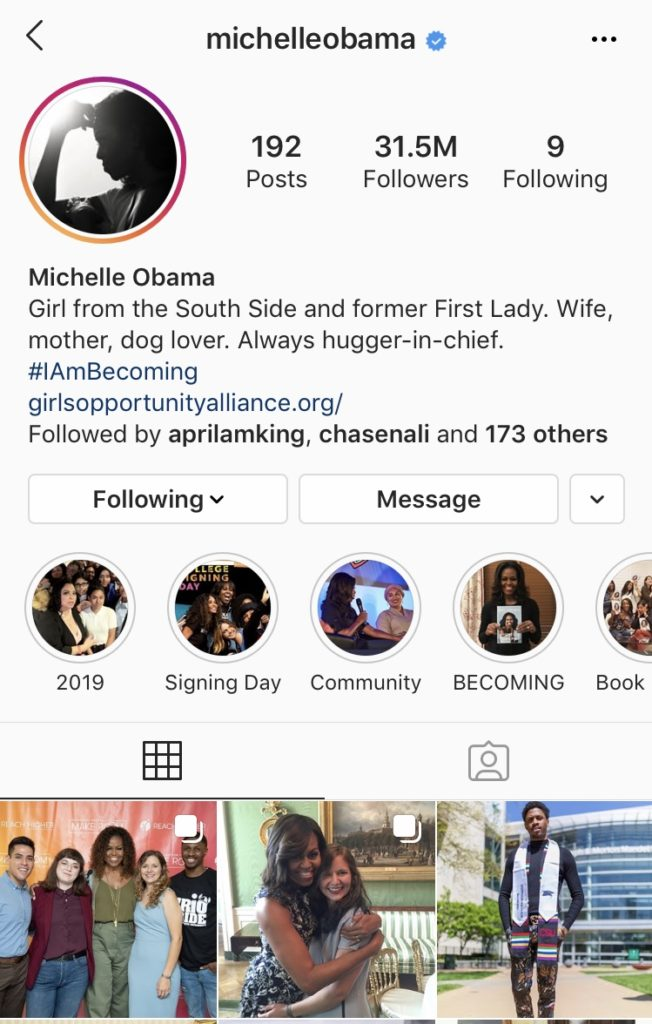 INSPIRING INSTAGRAM ACCOUNTS TO FOLLOW - Michelle Obama