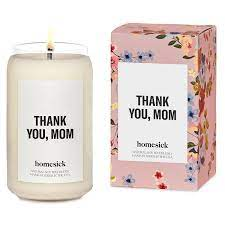candle with thank you, mom print for mothers day gift guide