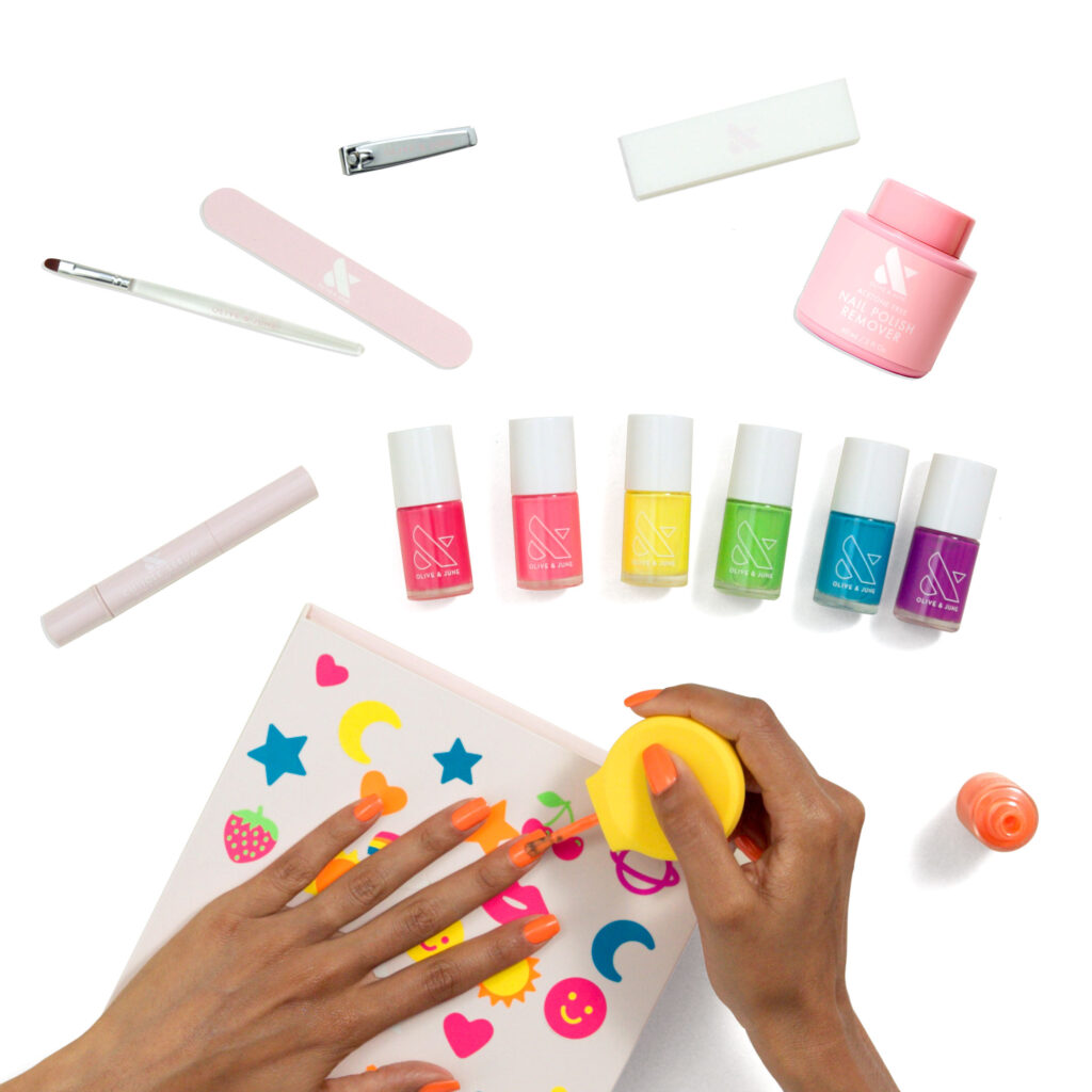 manicure items and hand painting nails with OLIVE AND JUNE SUMMER 2021 COLLECTION
