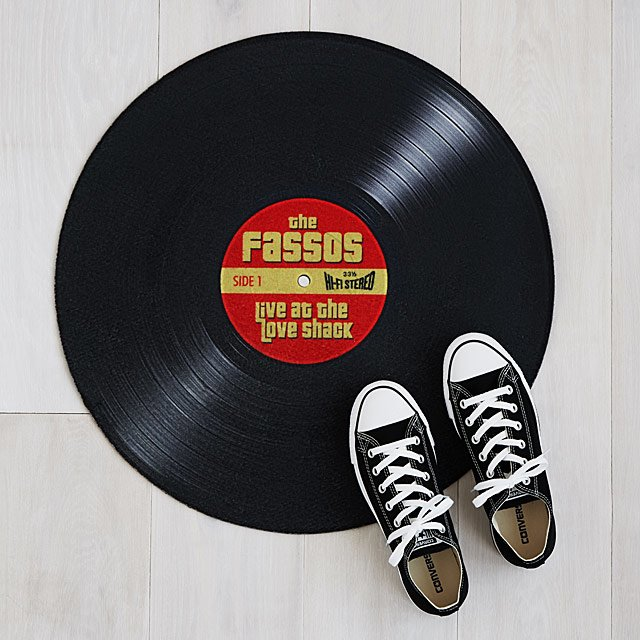 personalized vinyl doormat with shoes on it