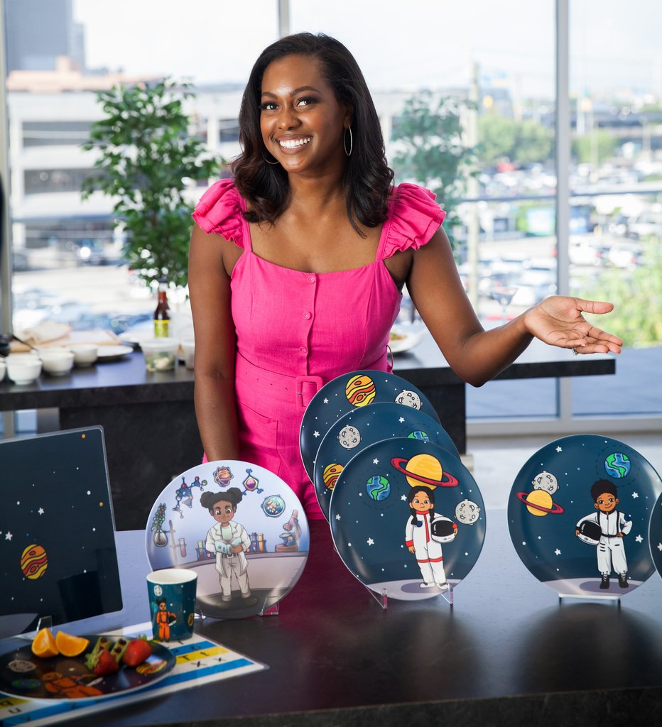 woman two showing colorful plates for back to school essentials